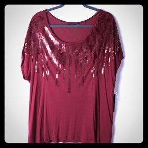 Apt. 9 2X Sequin Red Drizzle Top